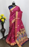 Pink color Paithani silk zari work saree