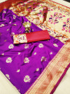 Soft banarasi silk paithani style saree with rich pallu