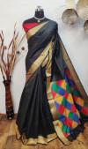 Handloom raw silk saree with ikat woven pallu