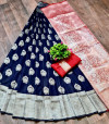 Lichi silk saree with zari weaving contrast pallu and border