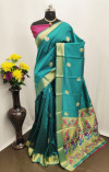 Rama green color Paithani silk zari work saree