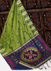 Handloom raw silk weaving saree with temple woven border and exclusive pallu