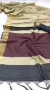 Raw silk katha weaving saree with zari woven border and pallu