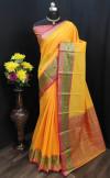 Yellow color Soft Cotton silk weaving design saree