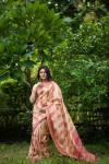 Tussar silk meenakari weaving saree with rich pallu