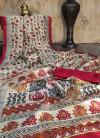 Raw silk printed saree with contrast border