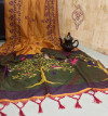 Soft raw silk weaving saree with exclusive contrast woven pallu