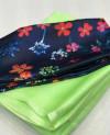 Moss chiffon saree with digital printed blouse