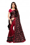 Soft lycra silk with floral printed ruffle saree
