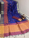 Crystal silk saree with embroidered work zari woven border and pallu