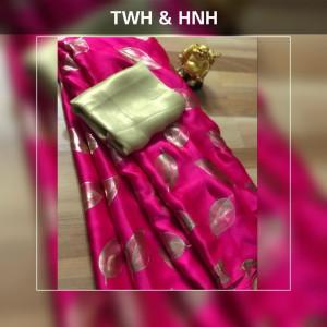 Pink color pure Satin silk saree