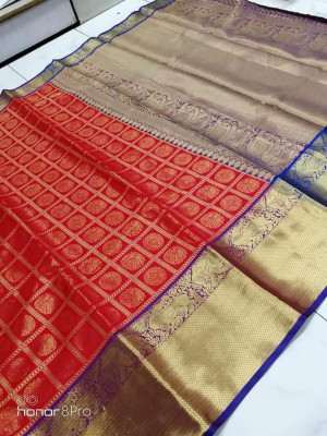 Kanchipuram handloom silk saree with contrast rich pallu