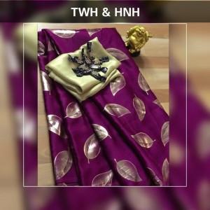 Wine color pure Satin silk saree