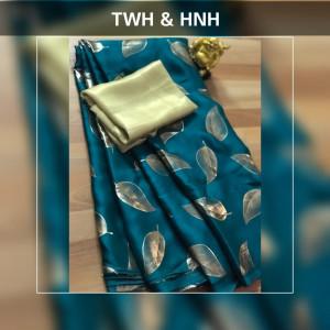 Firoji color pure Satin silk saree