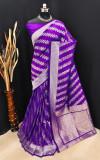 Violet color soft banarasi silk saree with golden and silver zari work