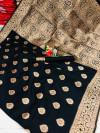 Black color soft banarasi silk saree with weaving work