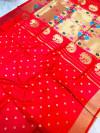 Red color kanchipuram silk saree with golden zari weaving work