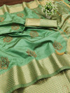 Pista green color assam silk saree with embroidery work
