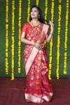 Red color kanchipuram silk saree with zari weaving work