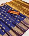 Purple color soft banarasi silk saree with golden zari work
