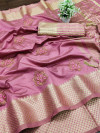 Dark pink color assam silk saree with embroidery work