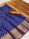 Royal blue color soft banarasi silk saree with zari woven rich pallu and border