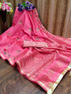 Rani pink color cotton silk saree with embroidery work
