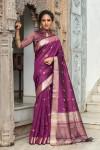 Magenta color tussar silk weaving saree with zari woven butti