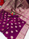 Magenta color soft banarasi silk saree with weaving work
