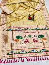 Light yellow color soft lichi silk saree with weaving work