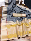 Gray color organza silk saree with woven work