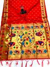 Red color paithani silk saree with golden zari woven work