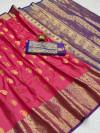 Pink color soft banarasi silk saree with golden zari work