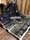 Black color cotton silk saree with embroidery work