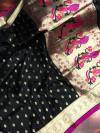 Black color paithani silk saree with weaving work