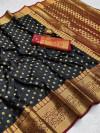Black color soft banarasi silk saree with zari woven rich pallu and border