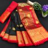 Black color soft cotton silk saree with rich pallu