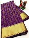 Magenta color soft cotton silk saree with golden zari border
