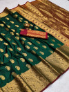 Dark green color soft banarasi silk saree with golden zari work