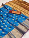 Firoji color soft banarasi silk saree with golden zari work