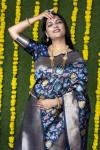 Navy blue color kanchipuram silk saree with zari weaving work