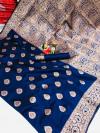 Navy blue color soft banarasi silk saree with weaving work