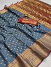 Gray color soft banarasi silk saree with zari woven rich pallu and border