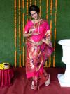 Pink color paithani silk saree with zari weaving work