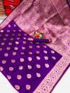 Purple color soft banarasi silk saree with weaving work