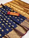Navy blue color soft banarasi silk saree with golden zari work