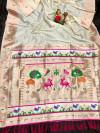 White color soft lichi silk saree with weaving work