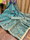 Rama Green color cotton silk saree with embroidery work