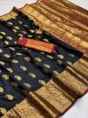 Black color soft banarasi silk saree with golden zari work