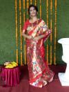 Red color paithani silk saree with zari weaving work
